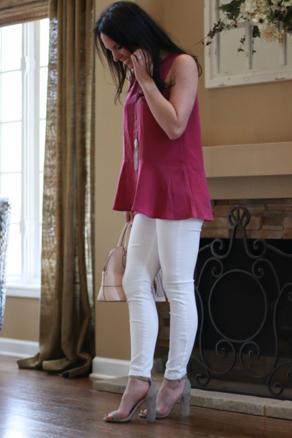 pictured: Shop The Look – Sleeveless Flowy Top & White Jeans